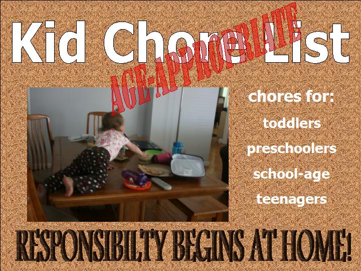 age appropriate chores for children of all ages