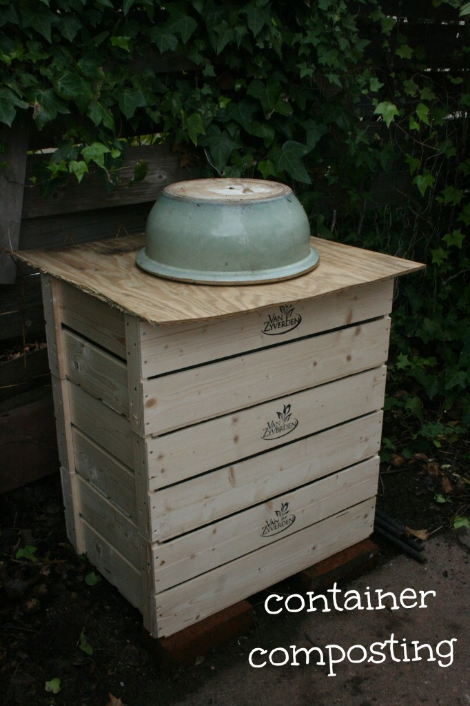 DIY 3-part container composter in the backyard. No tools needed; crates can be found at Michael's or a garden supply store